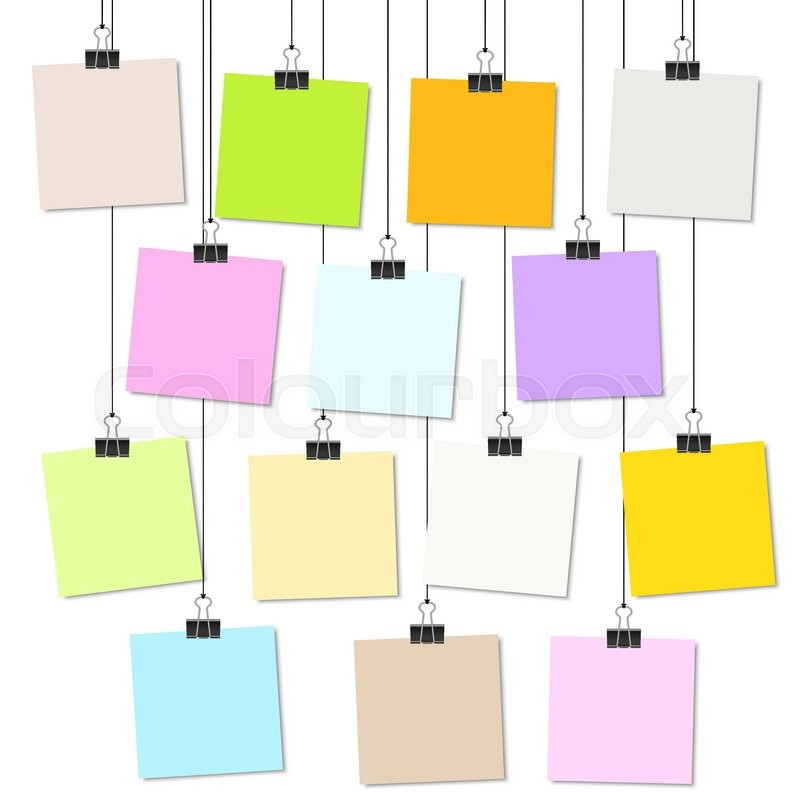 Picture Clips Hanging empty colored papers with binder clips hanging at black twine