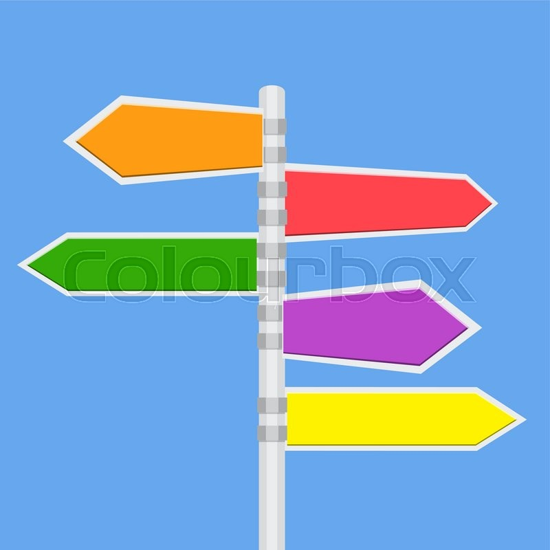 direction road signs arrows on blue sky vector illustration in