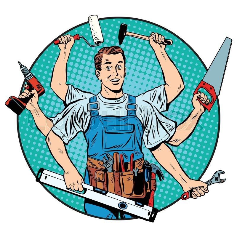 Professional Screeding Pop And Painting Designs Works: Multi-armed Master Repair Professional Pop Art Retro Style