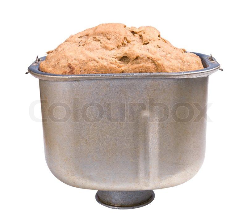 Stock foto af 'Hjemmebagt brød brødet i brødet pan isoleret på hvidt'