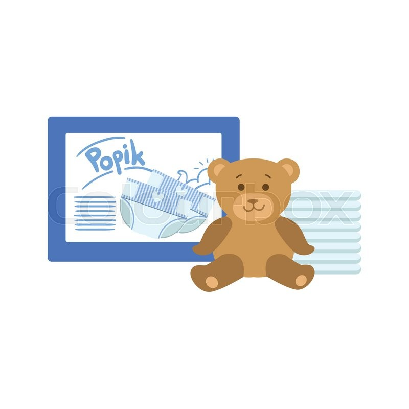 pack of diapers and teddy bear flat simple cute style cartoon design