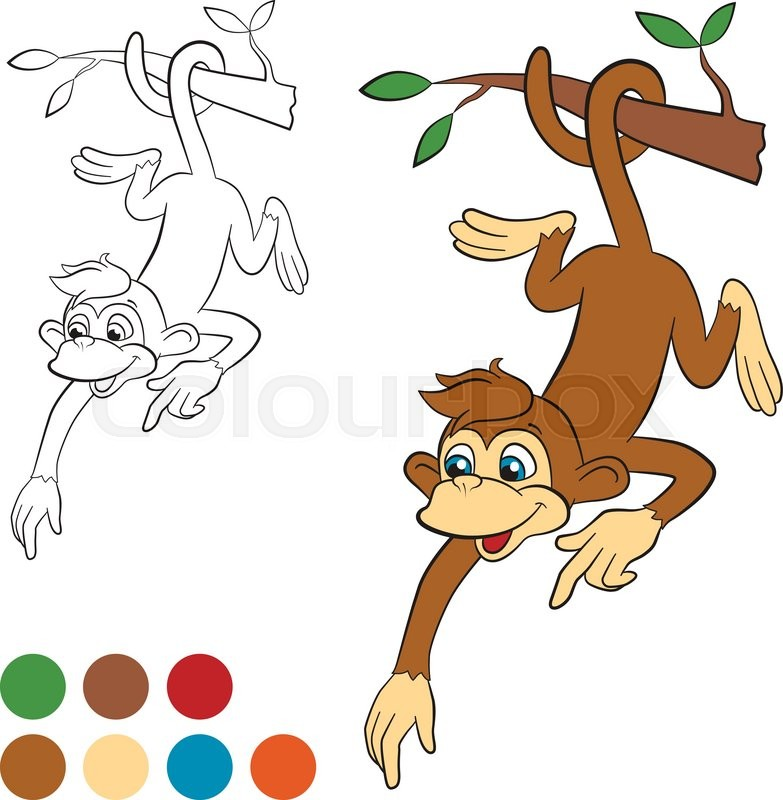 Coloring page. Color me: monkey. ...   Stock vector   Colourbox