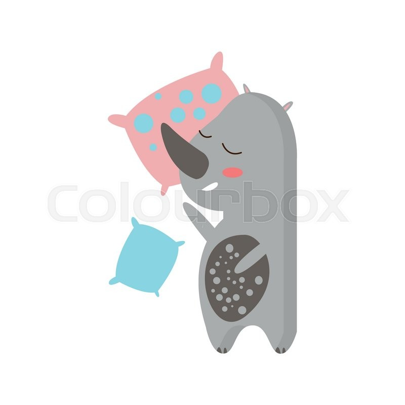 Rhino Sleeping In Bed Creative Funny     | Stock vector | Colourbox