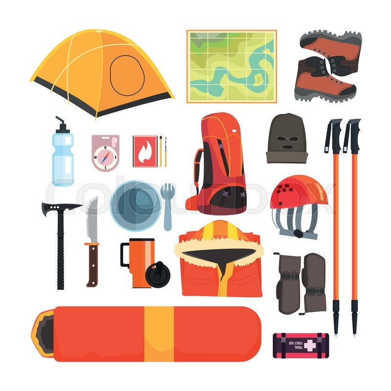 Mountain Camping Equipment Set Of ...   Stock vector ...