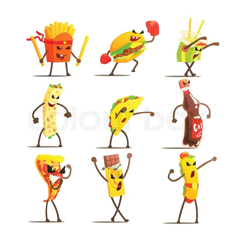 Fast Food Cartoon Characters Flat Vector Design Cute Funny Childish