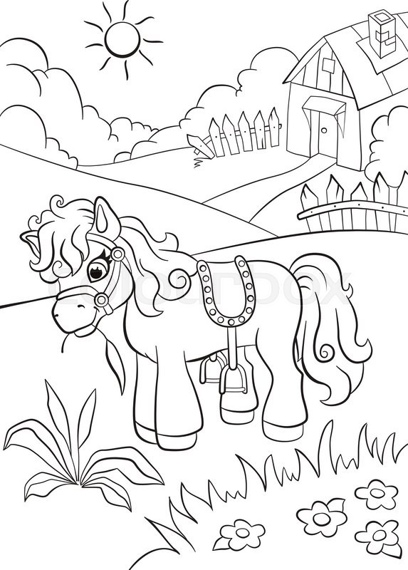 Coloring Pages Little Cute Pony Eating Grass On The Farm Village House In Behind