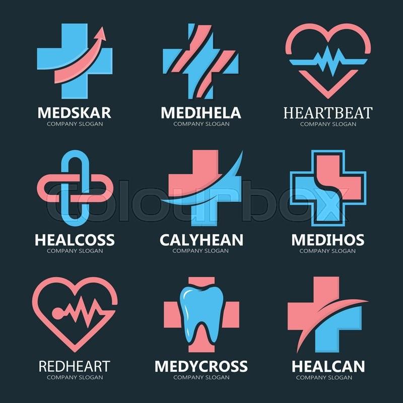 Set of medical cross logo. Pharmacy logo design template. Tooth ...