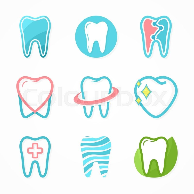 Set of tooth logo design template. Dental logo. Dental clinic logo ...