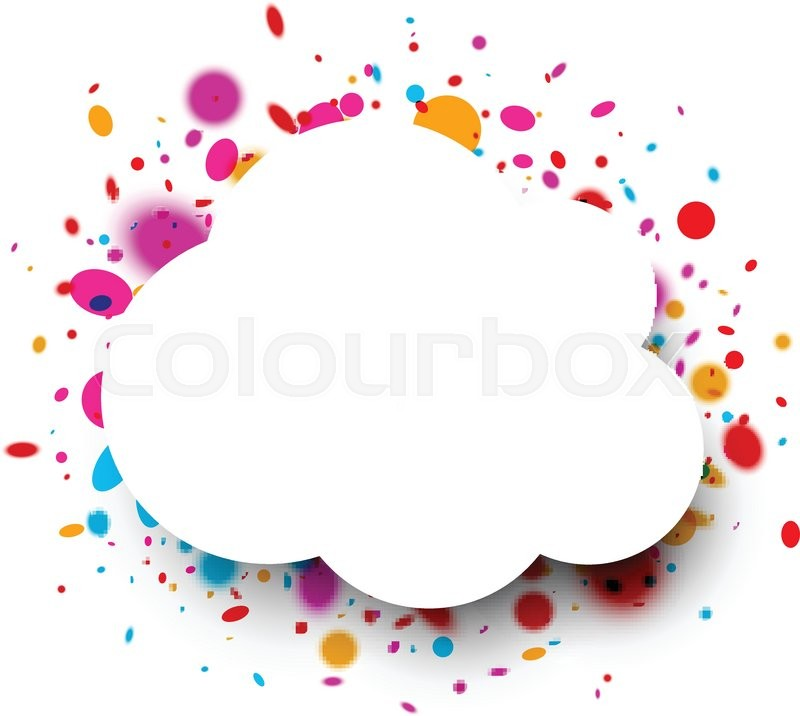 White paper cloud frame with color drops. Vector illustration ...