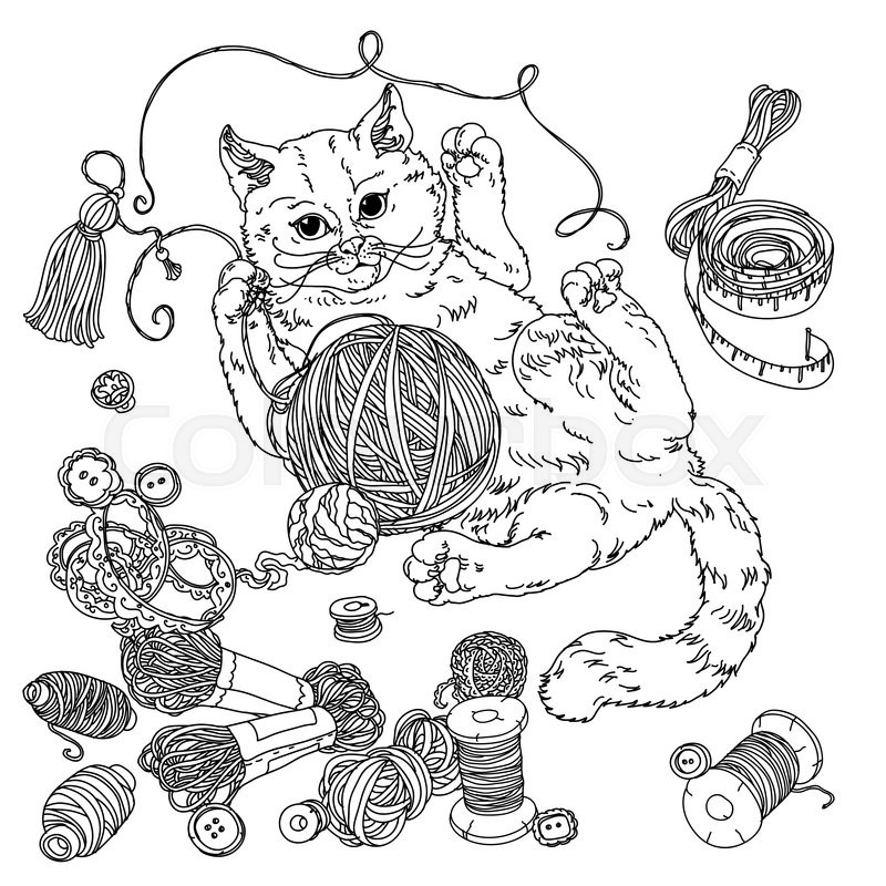 Kitten Playing With A Ball Of Yarn And Needlework Items Hand Drawn Doodle Vector The Best For Your Design Wedding Cards Coloring Book Black White