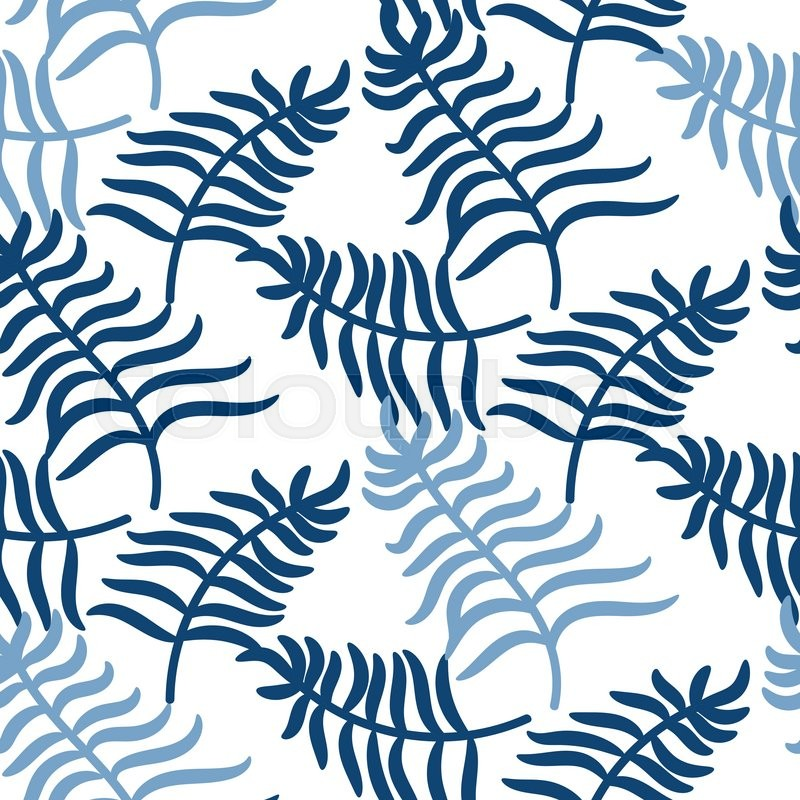 Tropical Jungle Palm Leaves Blue Color Pattern Background On White Exotic Nature For Fabric Wallpaper Or Apparel