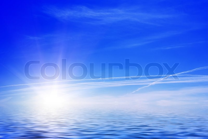 Sea view sun and clouds against blue sky stock photo colourbox - Impressive house with tranquil environment to get total relaxation ...