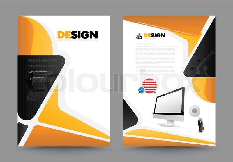Abstract brochure with monitor design template. Book design, print ...