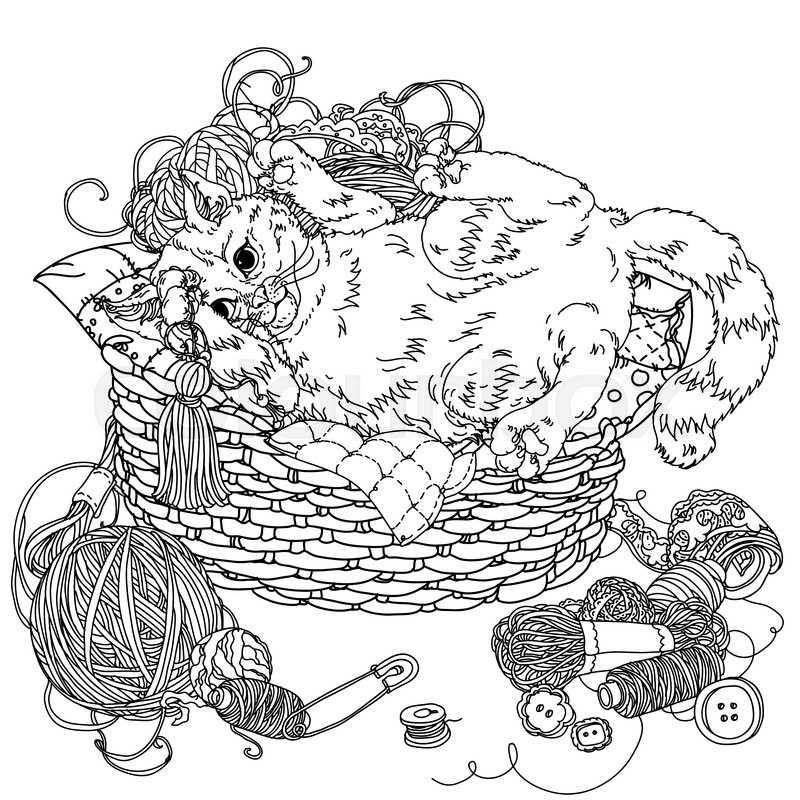stock vector of uncolored kitten playing with needlework of yarn and needlework items in coloring - Coloring Book Yarns