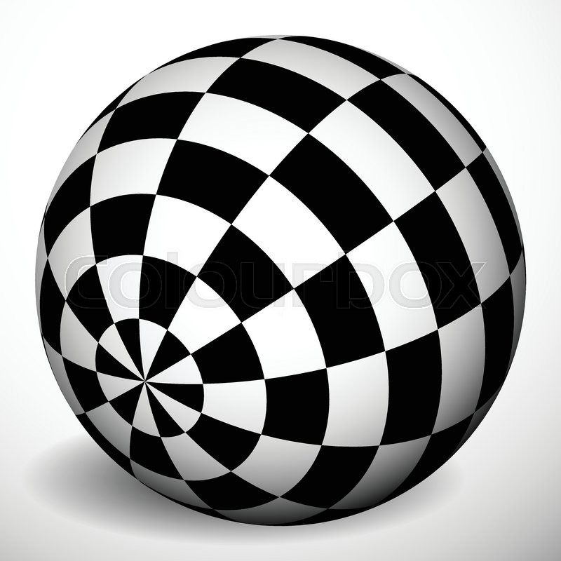 checkered 3d sphere with shading and shadow orb ball with squares
