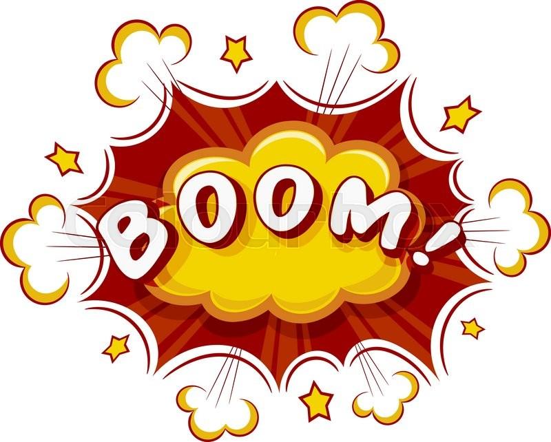 Colored Cartoon explosion BOOM! Cartoon explosion on a ...