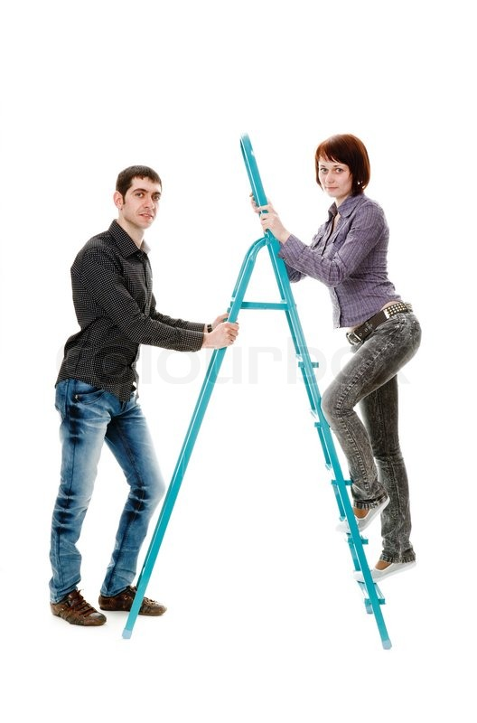 Guy Holding The Ladder On Which To Climb Up The Girl