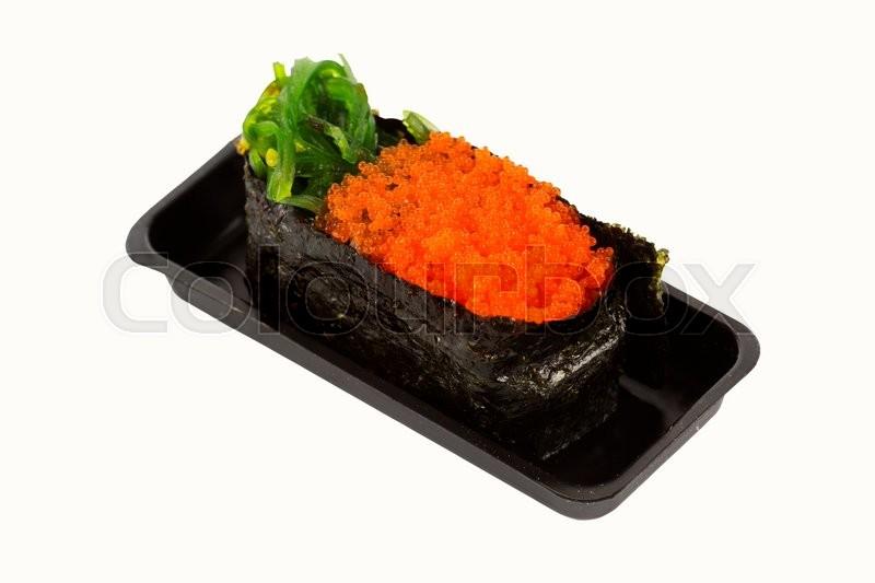 Wakame and ebiko Sushi Isolated on white background ...