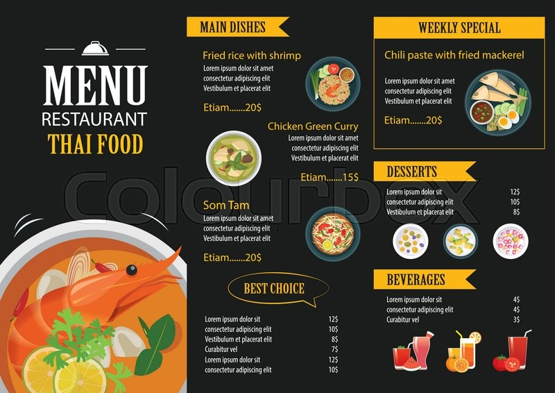 Vector thai food restaurant menu template flat design for Irish menu templates