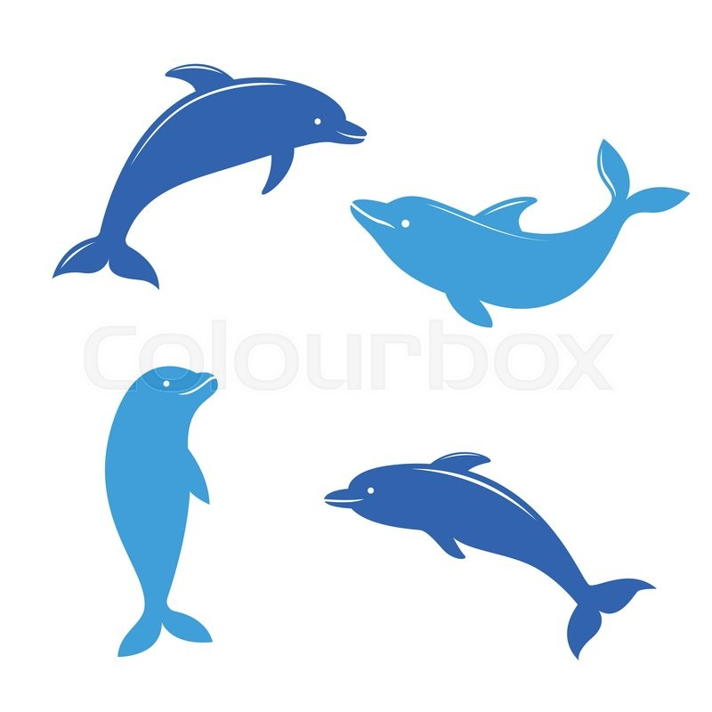 dolphin silhouettes on the white background swimming dolphins
