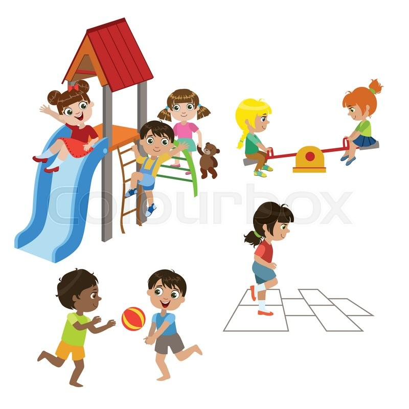 Kids Playing Outdoors Set Of Colorful Stock Vector Colourbox