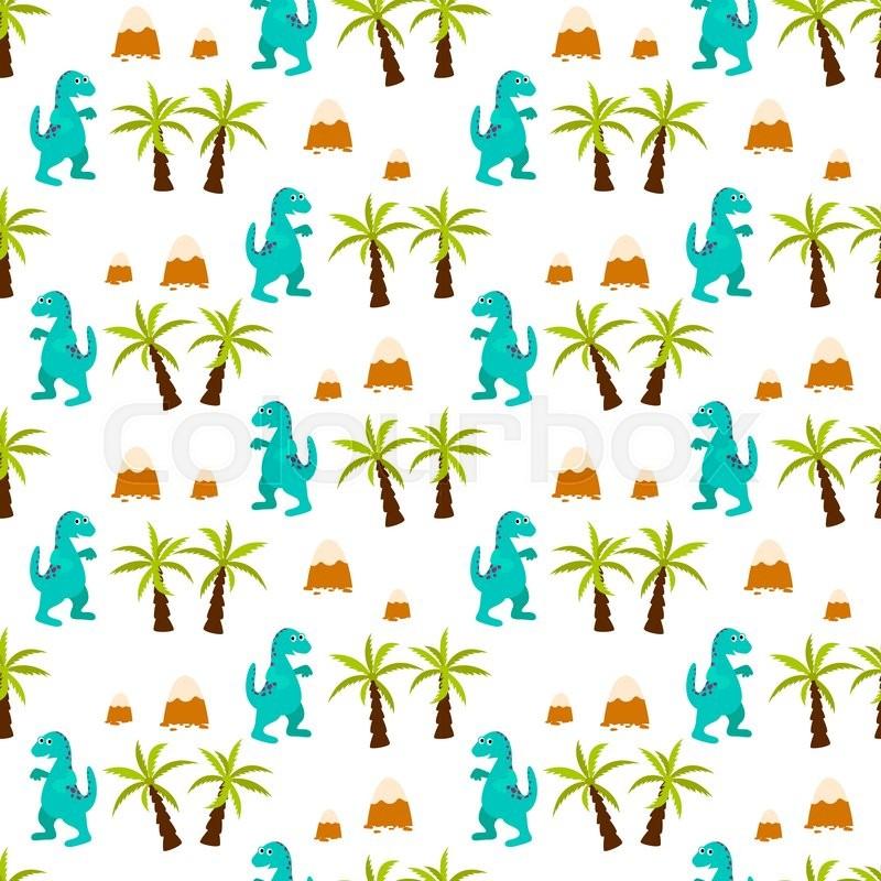 Dinosaur kid seamless vector pattern stock vector colourbox - Paperboy dinosaur wallpaper ...