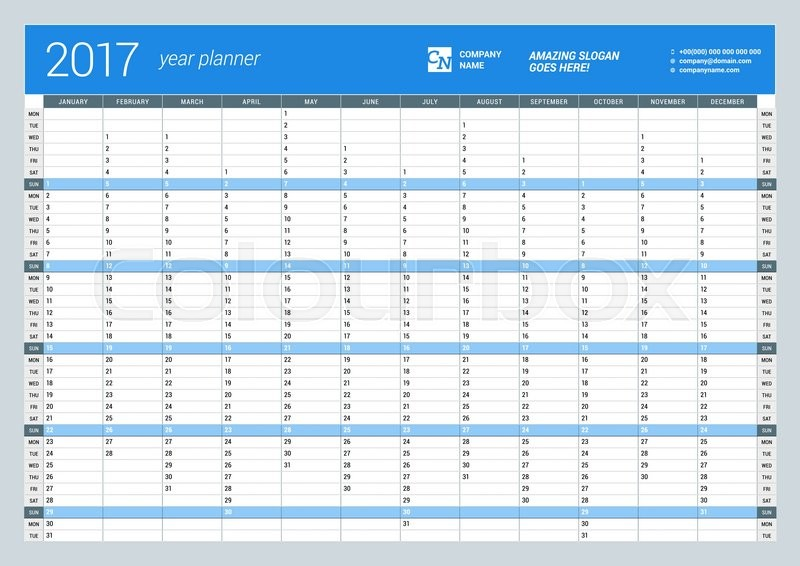 photograph about Yearly Planner Template referred to as Annually Wall Calendar Planner Template  Inventory vector