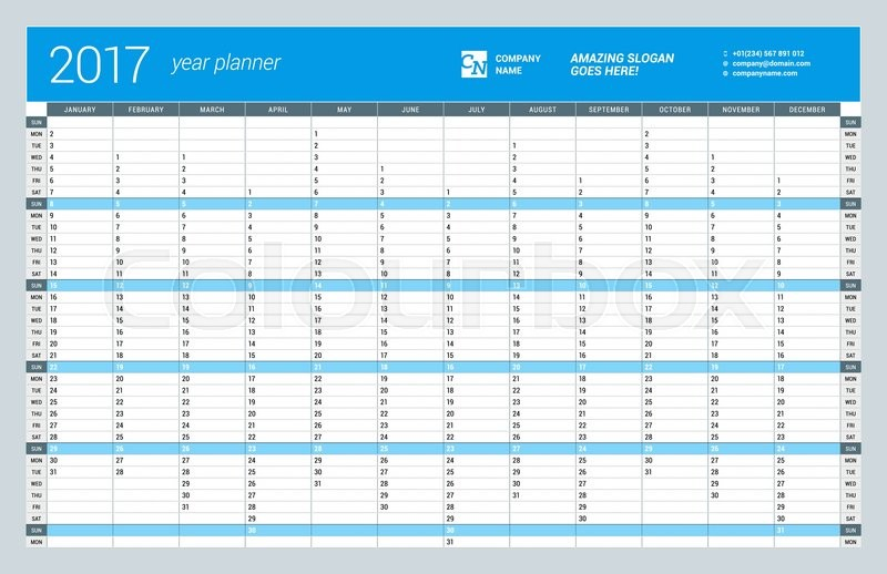 graphic regarding Yearly Planner Template called Every year Wall Calendar Planner Template  Inventory vector