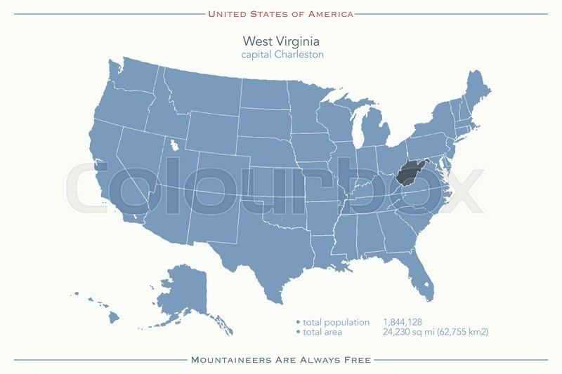 united states of america isolated map and west virginia state territory vector usa political map geographic banner template stock vector colourbox
