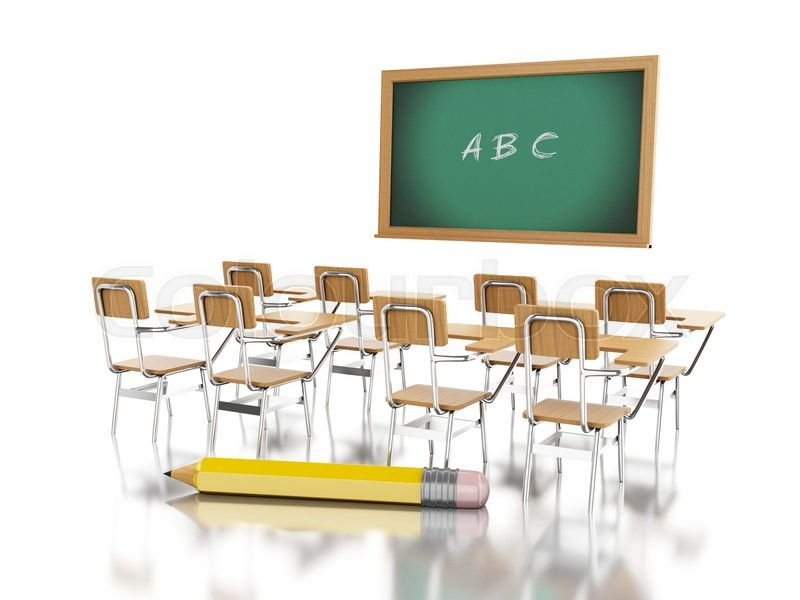 3d School Chairs, Chalkboard With ABC And Pencil. Education Concept.  Isolated White Background, Stock Photo