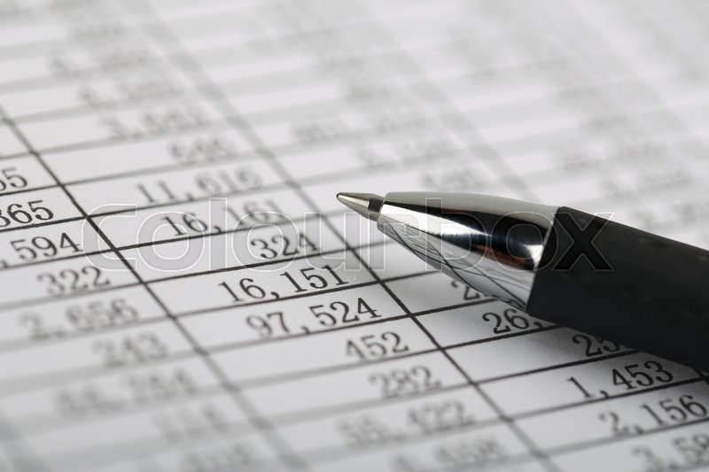 Closeup shot of the numbers on the balance sheet, stock photo