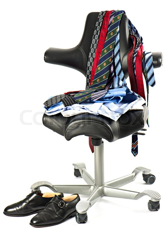Men S Clothing Over Black Leather Chair Stock Photo