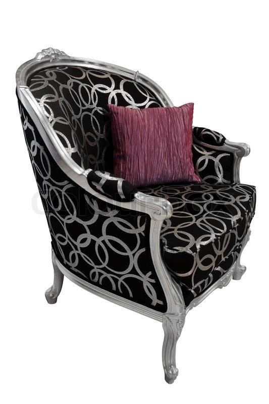 Schöne und modische Sessel auf weißem Hintergrund   Stockfoto ...