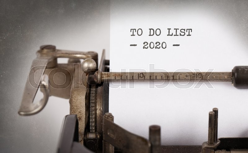 Stock image of 'Vintage typewriter close-up - To Do List 2020'
