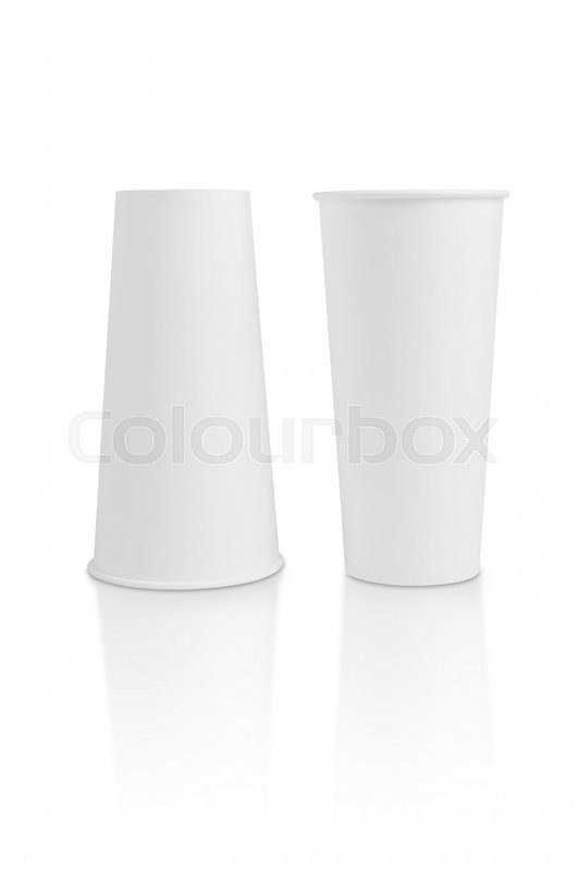 Stock image of 'Paper glass is on white background with clipping path'