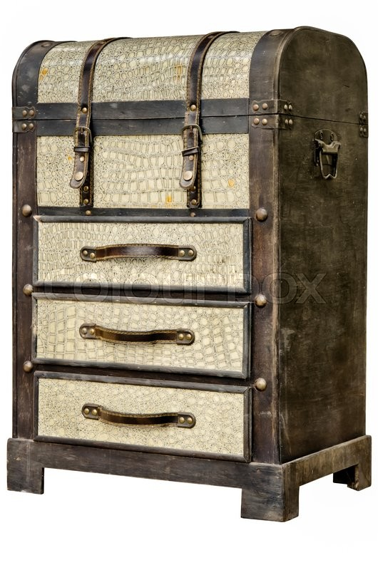 Stock image of 'Old leather chest with many drawer isolate on whiate background'