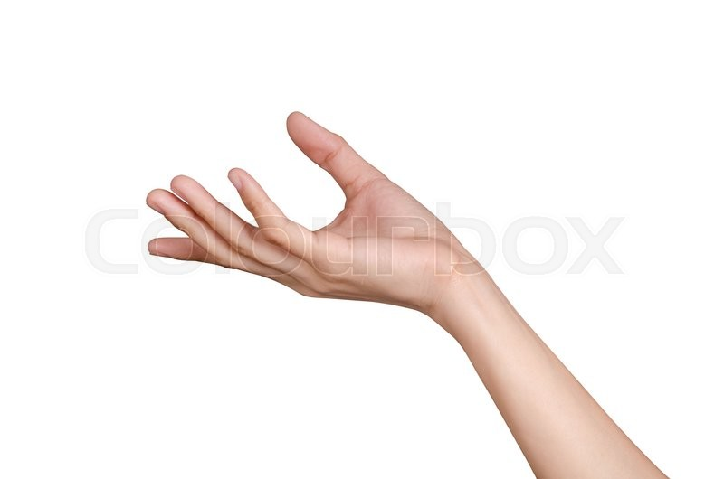 Stock image of 'Hand holding isolate on white background'