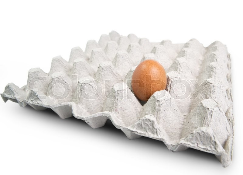 Stock image of 'Egg in a carton on white background'