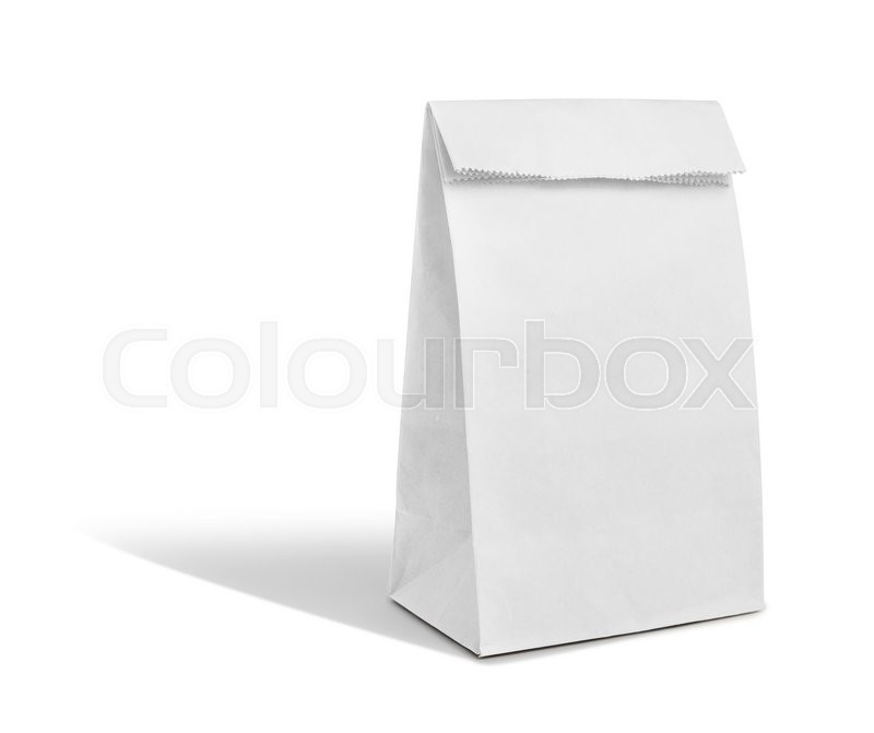 Stock image of 'Recyle white paper bag'