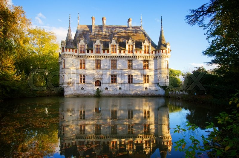 Stock image of 'Azay-le-Rideau castle  in the Loire Valley, France, retro toned'