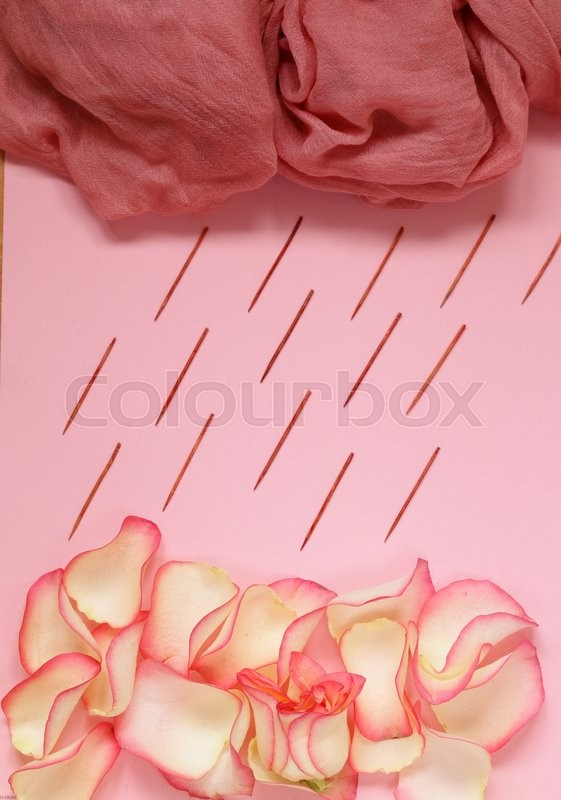 Stock image of 'Composition with pink roses, petals and flowers'