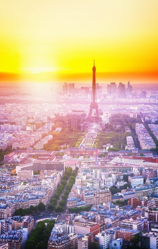 Stock image of 'Eiffel Tower  and Paris cityscape from above, France, toned'