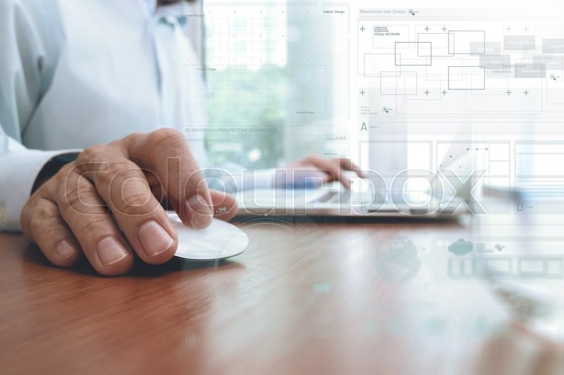 Stock image of 'Businessman hand working with modern technology and digital layer effect as business strategy concept'