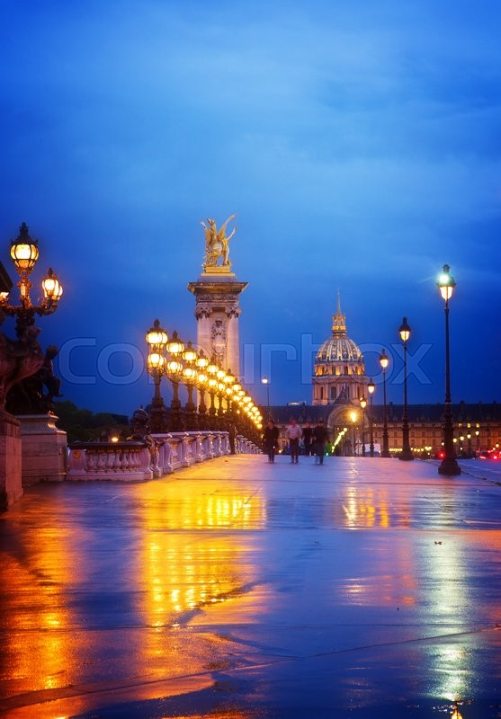 Stock image of 'Bridge of Alexandre III  at night,  Paris, France, toned'