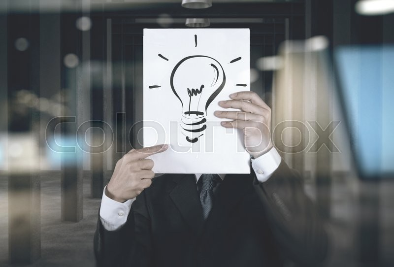 Stock image of 'double exposure of businessman showing the book of big idea diagram as concept'