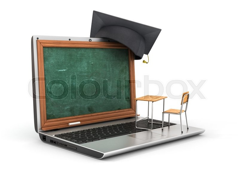 Stock image of 'Webinar concept. Schooldesk and chalkboard on the laptop keyboard. 3d illustration'
