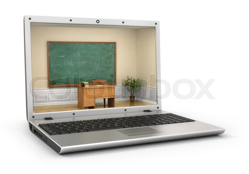 Stock image of 'Webinar concept. Chalkboard with teacher desk in the laptop screen. Classroom in laptop screen. 3d illustration'