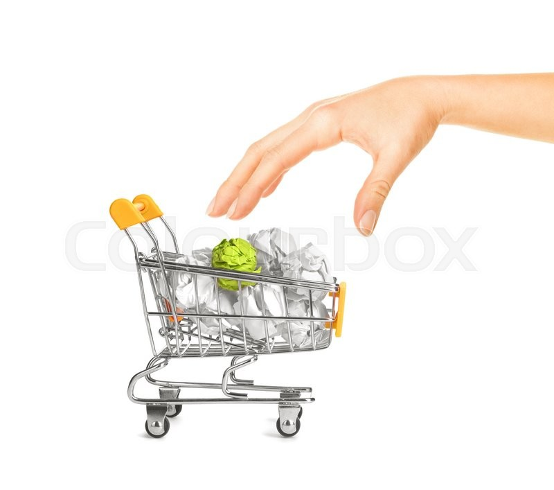 Stock image of 'Recylcing concept with crumpled paper and shopping cart'