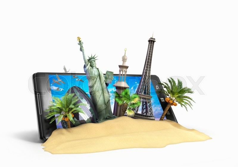 Stock image of 'Concept of travel landmarks look out for the phone screen online ordering vouchers beautiful background for Camping & Outdoor theme 3d illustration on white'