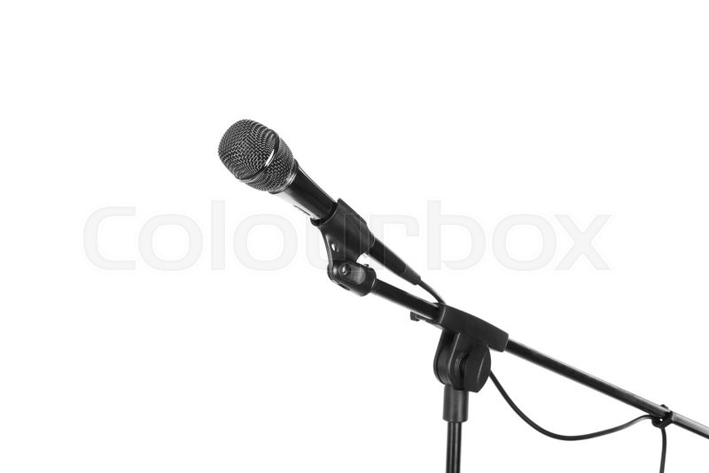 Stock image of 'Microphone on stand cutout, isolated on white background'
